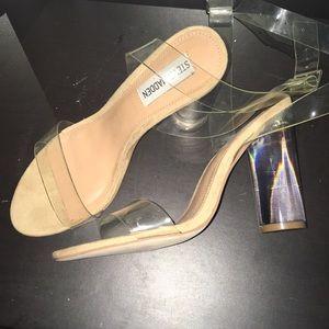 Steve Madden 7-1/2 clear block jelly heels